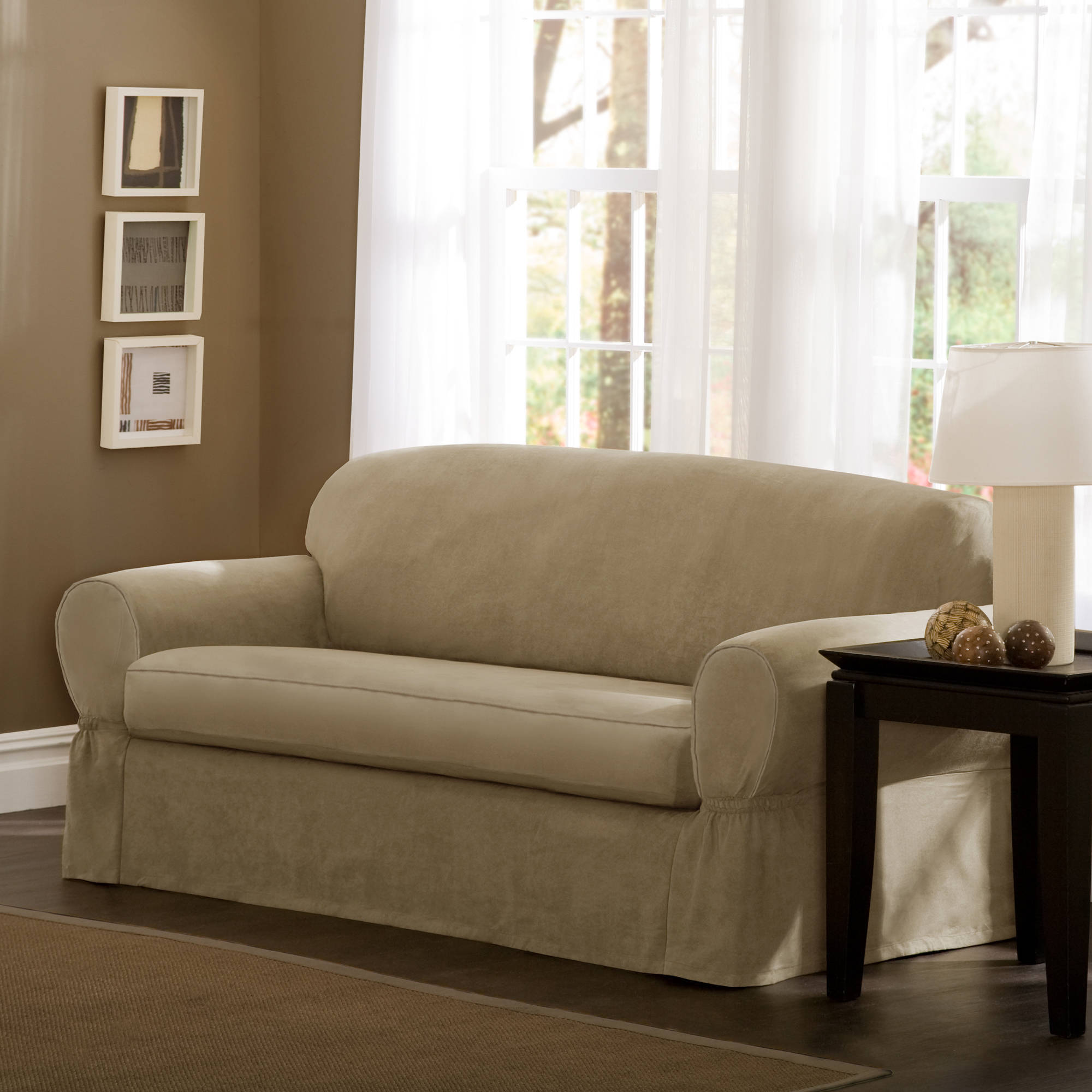 Maytex Piped Faux Suede Non-Stretch 2 Piece Sofa Furniture Cover Slipcover, Flax