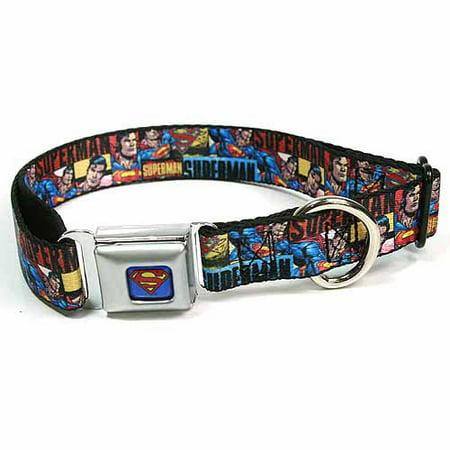 Dog Collar SMC-Superman Blue - SUPERMAN Action Blocks Red Blue - Large 15-26