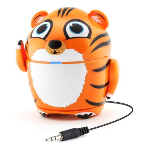 "GOgroove Portable Music Player Tiger Speaker with Rechargeable Battery & Retractable 3.5mm Cable- Works with Dragon Touch 7"" , Orbo Jr. , Smartab STJR76PK 7'' & More Kids Tablets"