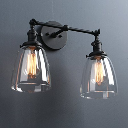 Phansthy Industrial Wall Sconce Fixture Vintage Style Clear Glass Edison Wall Light Shade
