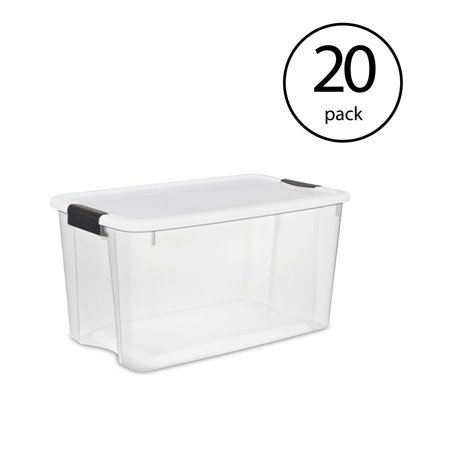 Base Camp Storage - Sterilite 70 Quart Ultra Latch Storage Box with Lid & See-Through Base (20 Pack)