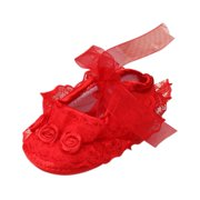 Ardorlove Toddler First Walkers Solid Baby Shoes Newborn Girls Lace Cloth Soft Sole Princess Shoes Prewalker