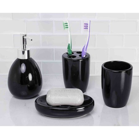 Home basics 4 piece black bathroom accessory set for C bhogilal bathroom accessories