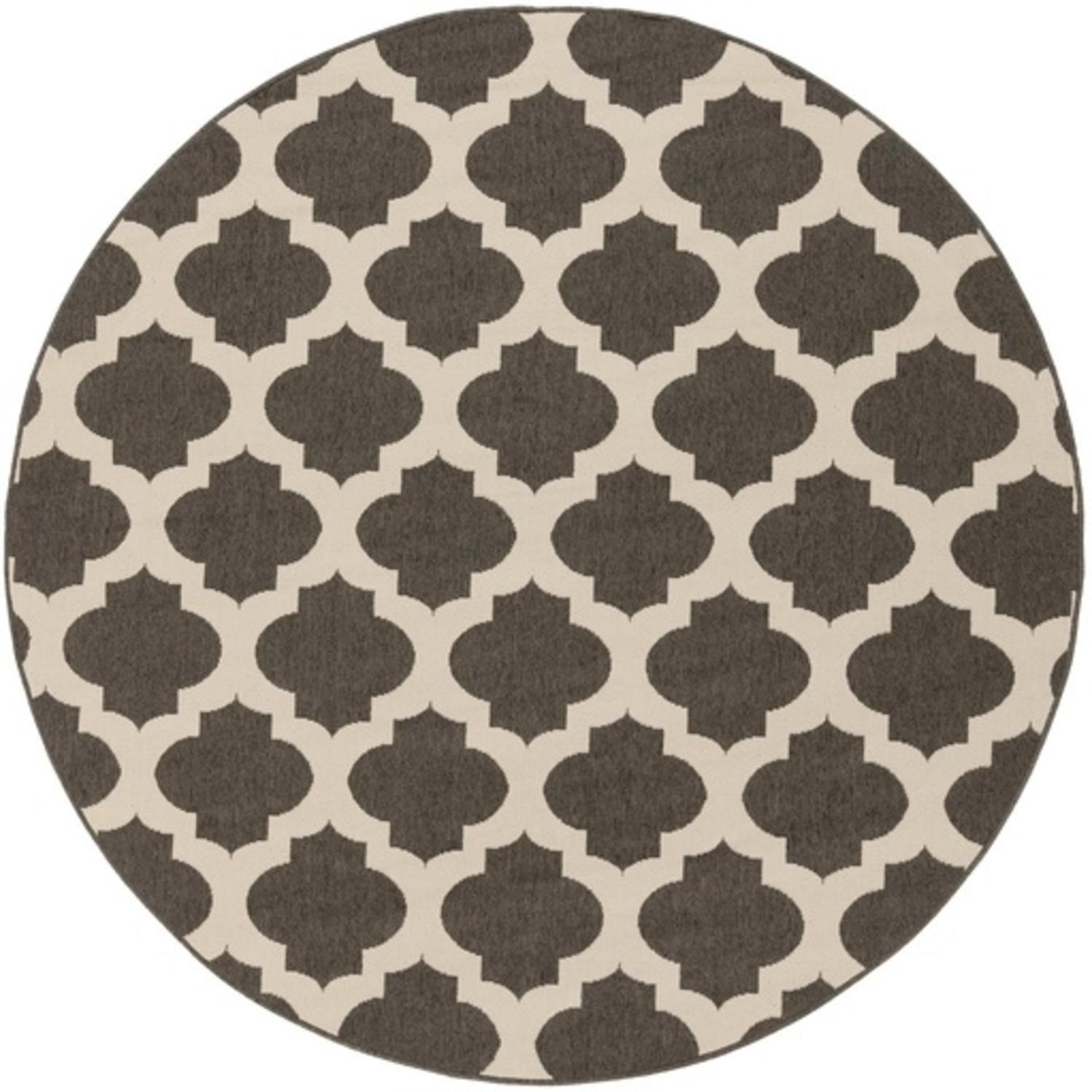 8.75' Diameter Moroccan Gateway Espresso Brown and Cream White Shed-Free Round Area Throw Rug