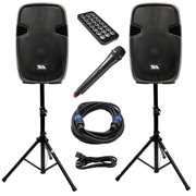 Seismic Audio Active 15 Inch PA Speaker System - Bluetooth, Wireless Mic, Stands and Cables - PAIO15
