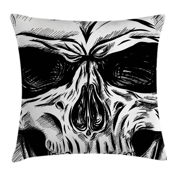 Halloween Throw Pillow Cushion Cover Gothic Dead Skull Face Close Up Sketch Evil Anatomy Skeleton Illustration Decorative Square Accent Pillow Case 16 X 16 Inches Dark Grey White By Ambesonne Walmart Com
