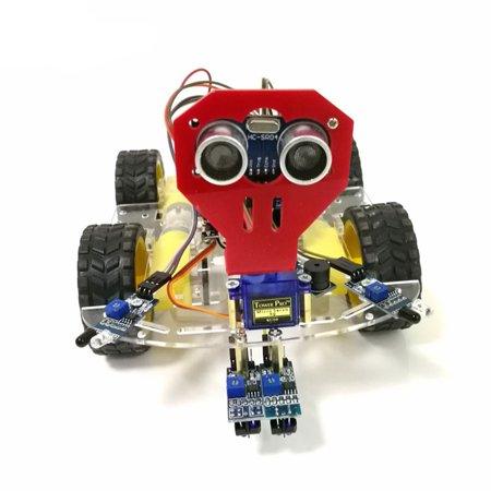 WiFi Control 2 Tracking Ultrasonic Obstacle Avoidance Intelligent Robot Car Chassis Kit Battery Box 4WD Ultrasonic Module For Arduino (Best Arduino Starter Kit)