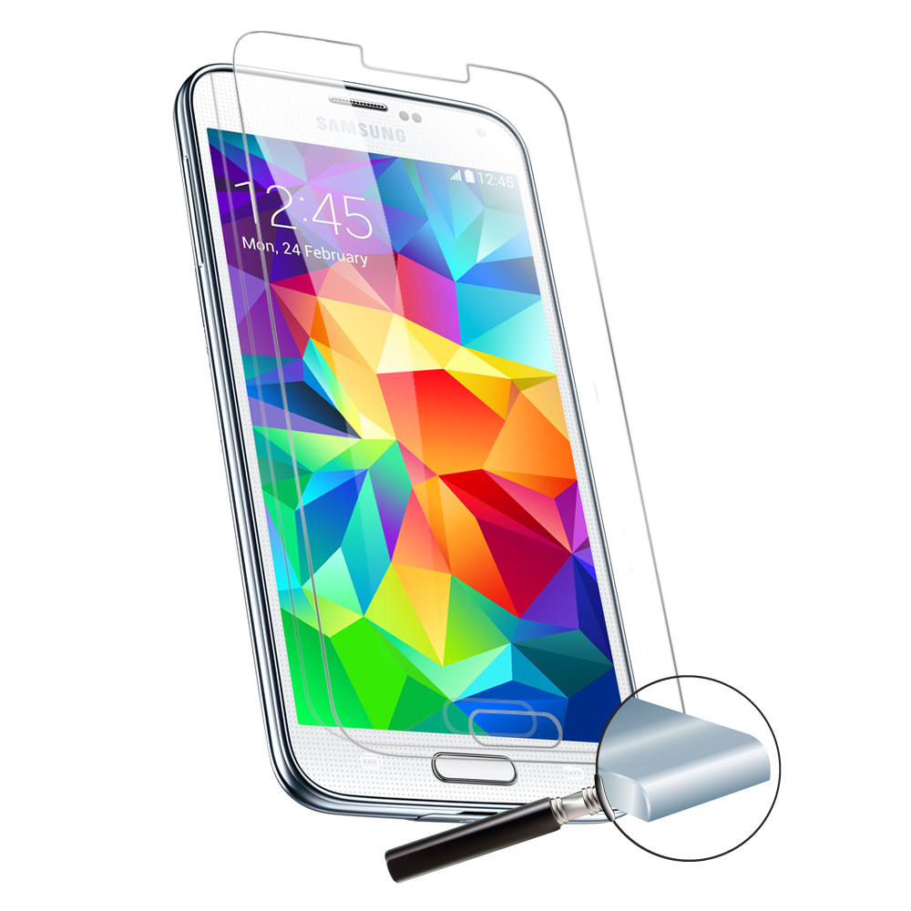 3 Pack - Samsung Galaxy S5 Premium Crystal Clear Tempered Glass Screen Protector Cover for Samsung GS5 (3x PCS Glass)