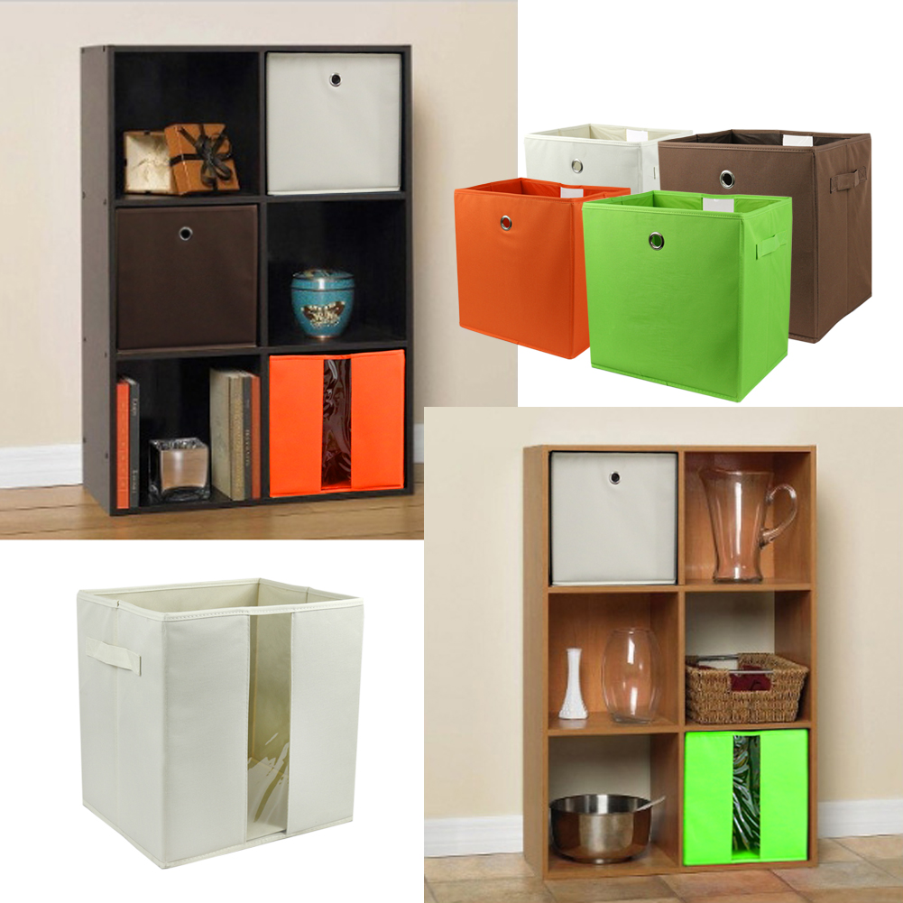 The Elixir Eco Gren Storage Cube Basket Bin Eco Friendly Fabric Canvas, Foldable Collapsible Organizer Container Box & Closet Drawer, Green