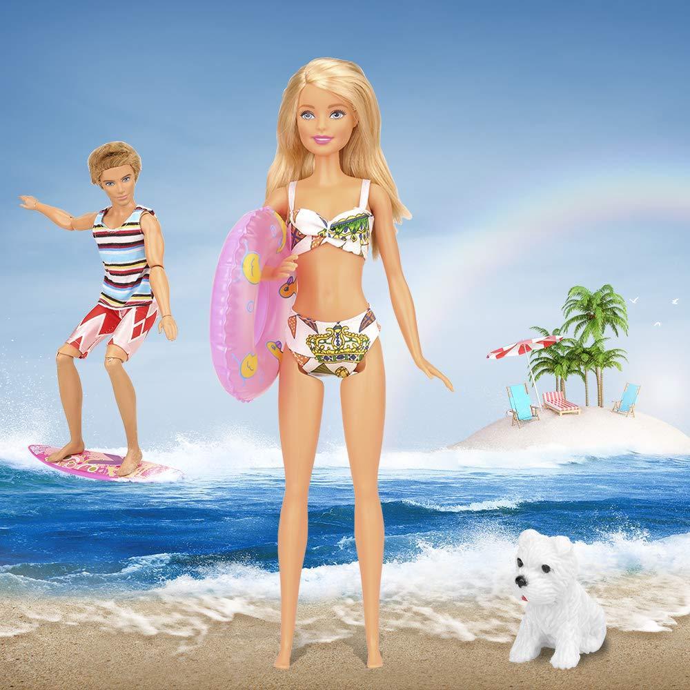 Miunana Lot 12 Pcs Handmade Clothes and Summer Beach Set for 11.5 inch doll