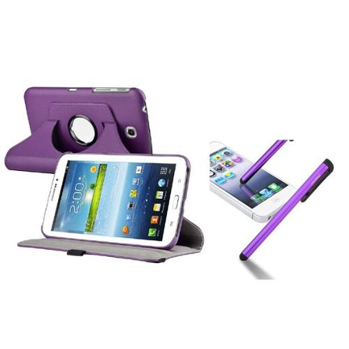 Insten Purple 360 Rotating Leather Stand Case Cover for Samsung Galaxy Tab 3 Kids+Pen