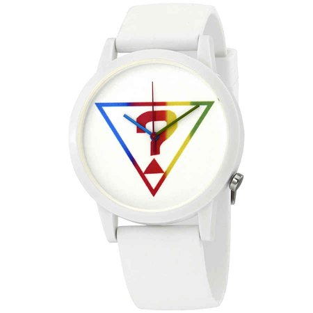 Guess Originals White Logo Quartz White Dial Ladies Watch V1024M1 Guess Logo Dial Watch