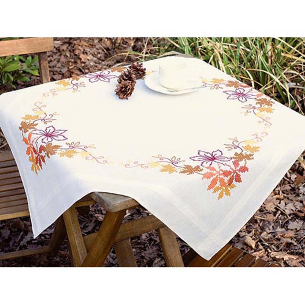 Vervaco® Autumn Leaves Table Topper Stamped Cross-Stitch Kit