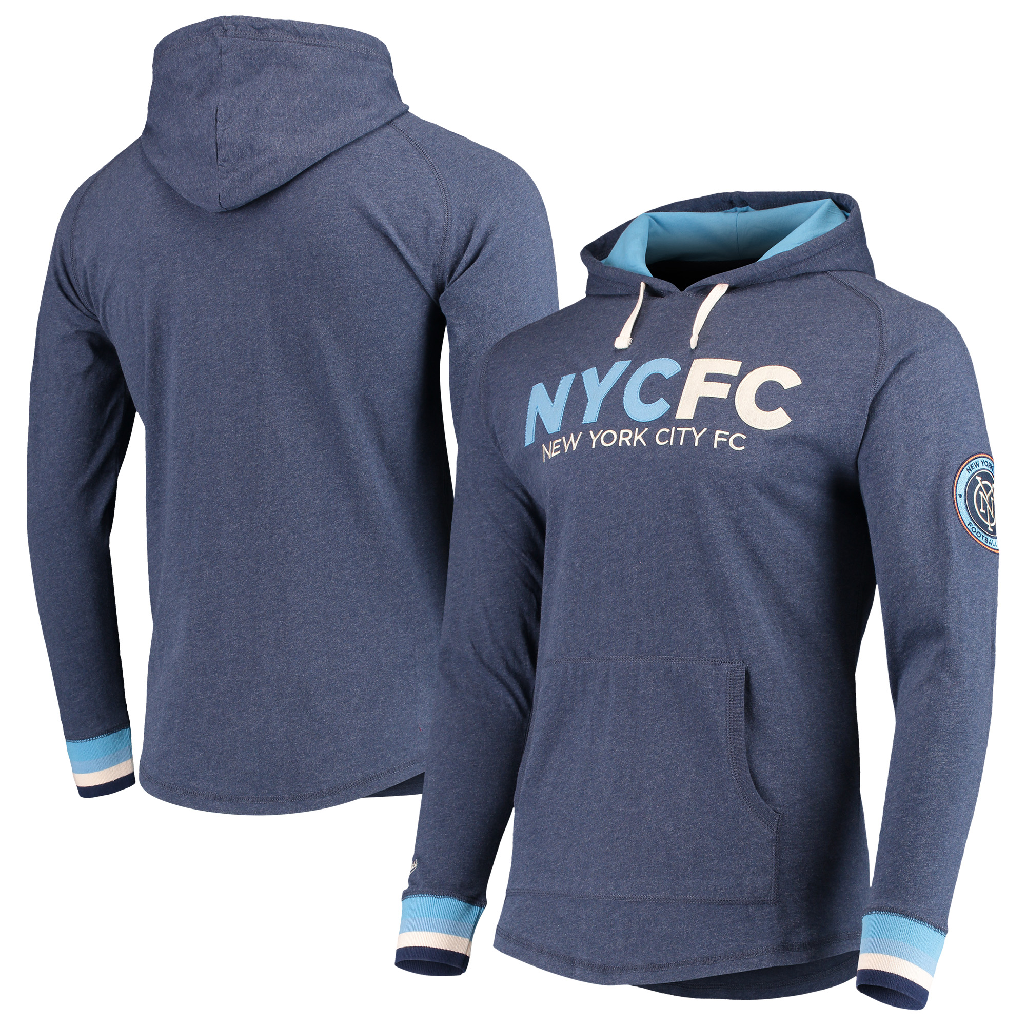 New York City FC Mitchell & Ness Lightweight Pullover Hoodie - Heathered Blue