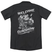 Mighty Mouse Mighty Gunshow (Back Print) Mens Work Shirt
