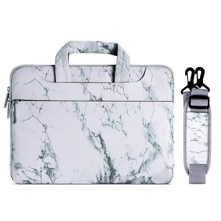 Canvas Marble Pattern Style Laptop Shoulder Bag Case Cover Briefcase for 13-13.3 Inch MacBook Pro, MacBook Air, Surface Book, Notebook Computer,White