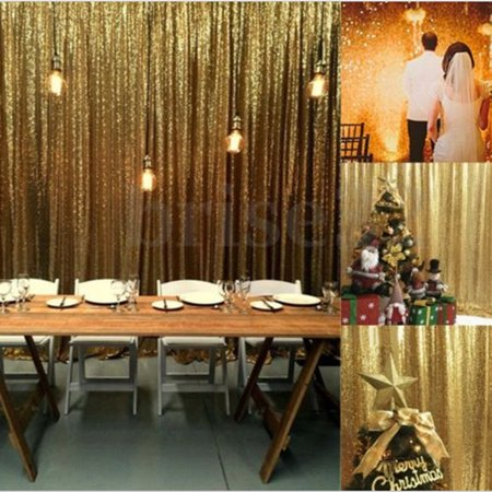 Gold Shimmer Curtains (2 Panels Shimmer Sequin Curtain Potography Backdrop Home Party Decor)