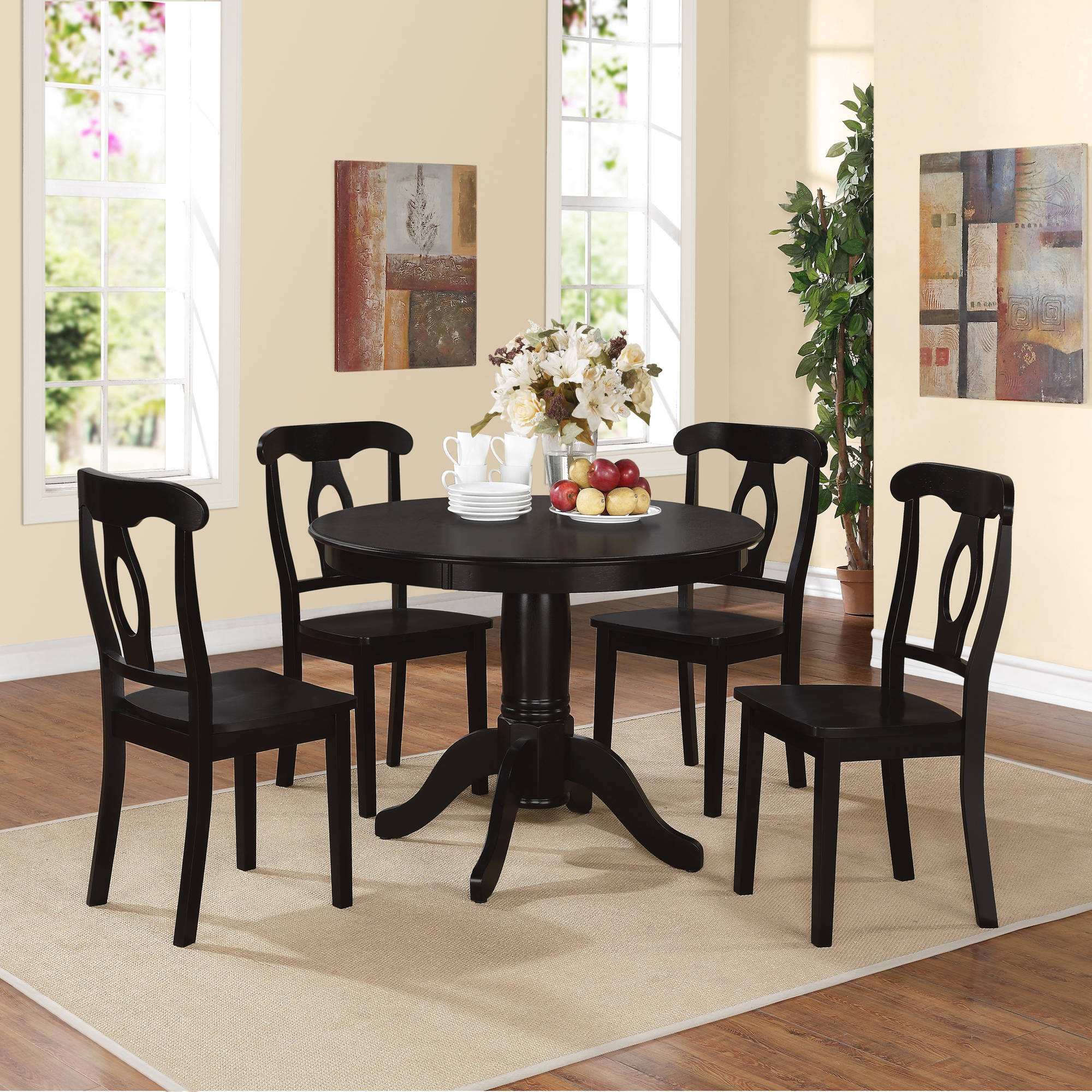 Aubrey 5-Piece Traditional Height Pedestal Dining Set, Multiple Colors
