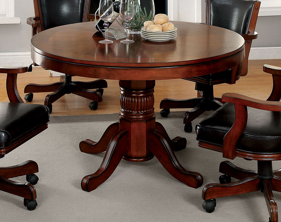 Furniture Of America Portia Chestnut Finish Inter Changeable Round Game Table by Furniture of America