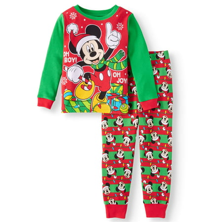 Christmas Long Sleeve Tight Fit Pajamas, 2pc Set (Toddler Boys)