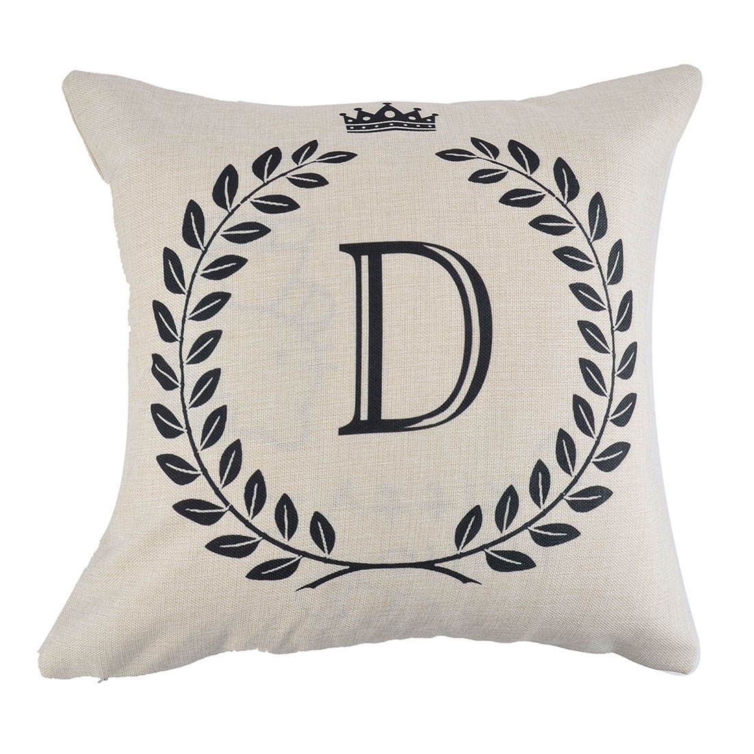 Home Cotton Linen Letter D Pattern Zippered Pillow Cushion Cover 18 x 18 Inches