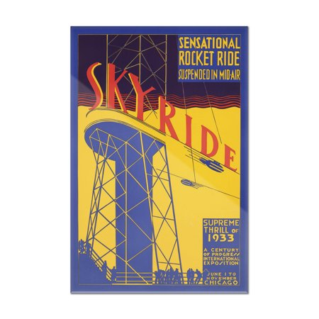 Chicago Outdoor Wall - Chicago World's Fair 1933 - 34 - Sky Ride Vintage Poster USA c. 1933 (8x12 Acrylic Wall Art Gallery Quality)