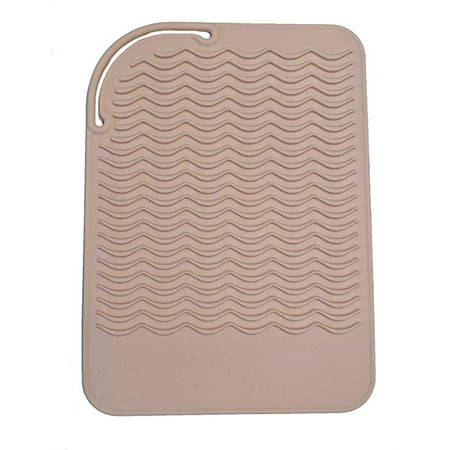 Heat Resistant Silicone Travel Mat for Curling Irons and Flat Irons - Blush Pink ()