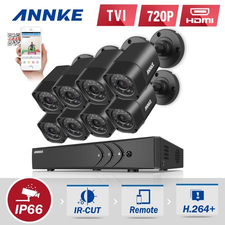 ANNKE Security Camera System  16CH TVL 1080P Video Surveillance kits 8Pcs 720P AHD Weatherproof Outdoor CCTV Camera(0-NO HDD,2-2TB HDD) (16ch Security Camera)