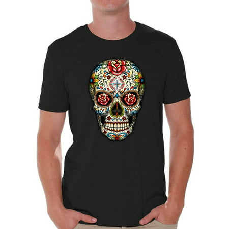 Awkward Styles Rose Eyes Skull Tshirt for Men Sugar Skull Roses Shirt Sugar Skull T Shirt Dia de los Muertos Outfit Day of the Dead Gifts Halloween Shirts Men's Skull Tshirt Red Rose Skull Shirt (Los Origenes Halloween)