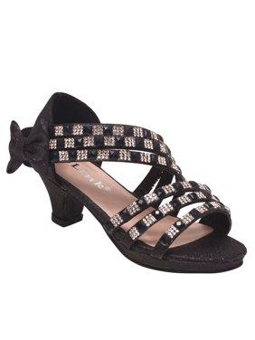 c2b7f4b7907e Product Image Girls Black Stone Adorned Bow Diagonal Strap Heeled Sandals