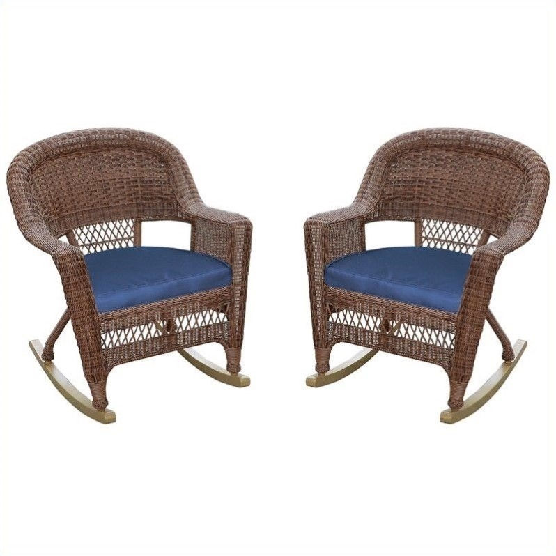 Jeco Wicker Chair in Honey with Blue Cushion (Set of 4)