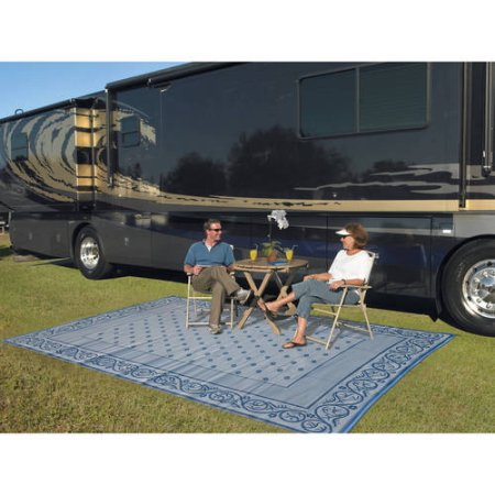 Patio Mats 9 X 12 Reversible Rv Mat Indoor Outdoor Rug Camping Blue