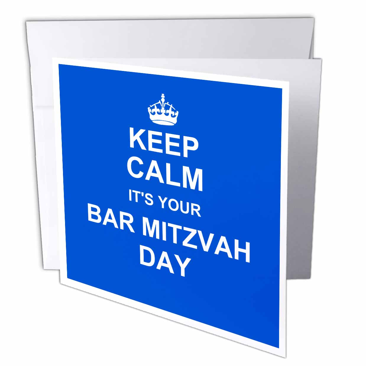 3dRose Keep Calm its your Bar Mitzvah day - blue - Good luck Encouraging message Boys Jewish 13th birthday, Greeting Cards, 6 x 6 inches, set of 12