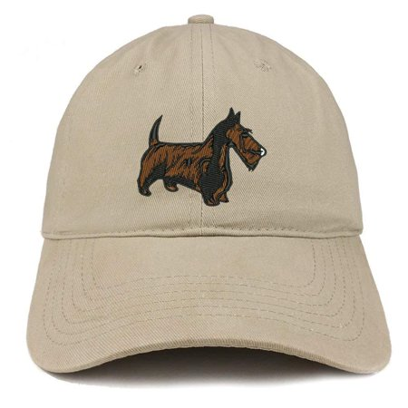 Trendy Apparel Shop Scottish Terrier Dog Embroidered Soft Cotton Dad Hat- Khaki