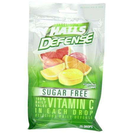 6 Pack Halls Defense Vitamin C Drops Sugar Free Assorted Citrus 25
