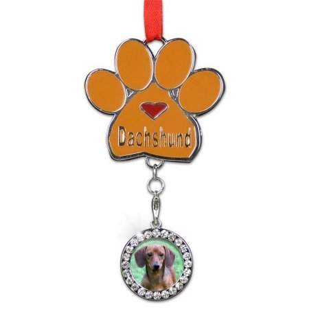 (Dachshund Ornament - I love Dachshunds Christmas Ornament - Place for a Picture of Your Favorite Dachshund - Hanging Paw Print Designs with Red Ribbon)