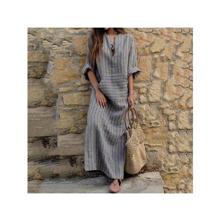 Lavaport S-5XL Size Women Kaftan Long Sleeve Casual Maxi Dress