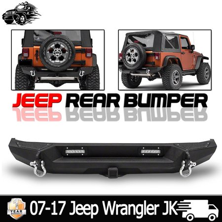 QUAKEWORLD Black Textured Rear Bumper for 07-17 Jeep Wrangler JK Textured Heavy Duty with 2'' Hitch Receiver & 2 x 20W LED Lights,1 Year Warranty