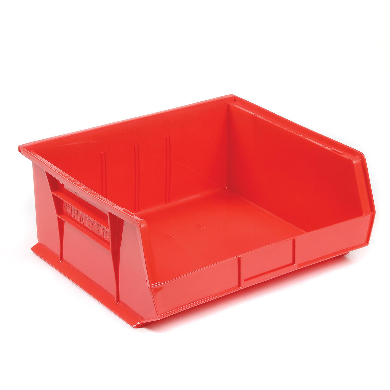 "AkroBin® Plastic Stacking Bin, 16-1/2""W x 14-3/4""D x 7""H, Red, Lot of 6"