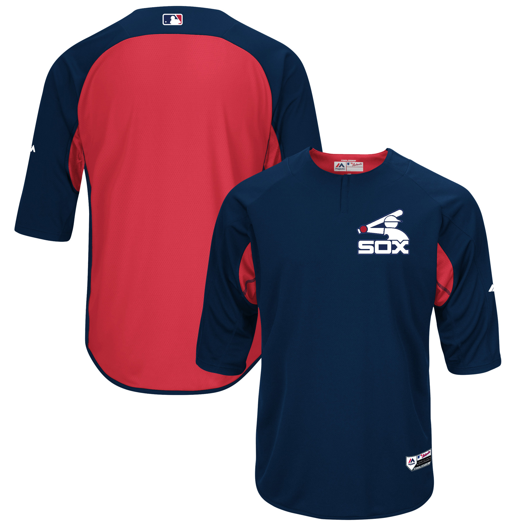 Chicago White Sox Majestic Authentic Collection On-Field 3/4-Sleeve Batting Practice Jersey - Navy/Red