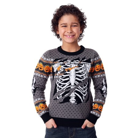 Halloween Skeleton Sweater (Child Ripped Open Skeleton Ugly Halloween)