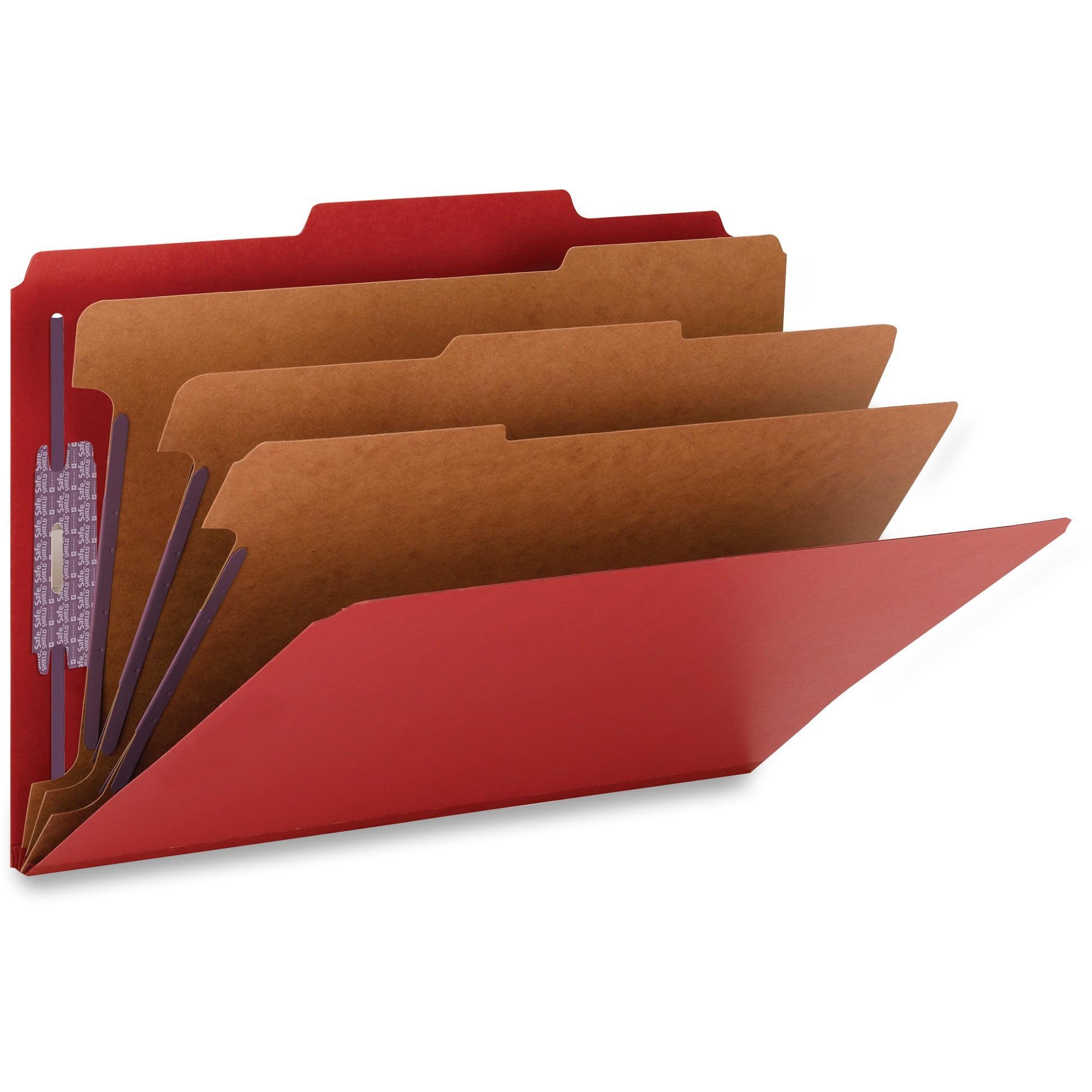 Smead, SMD19095, SafeSHIELD Fasteners 3-Div Classification Folders, 10 / Box, Bright Red