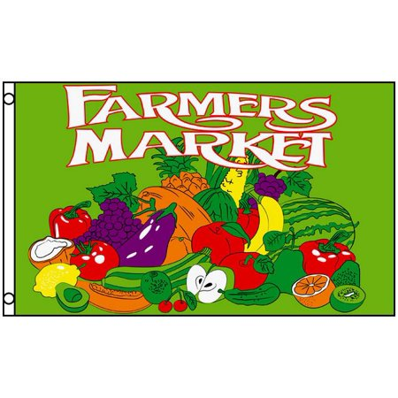 Sign Flag And Banner - FARMERS MARKET Flag Fruit and Vegetable Business Sign 3 x 5 Foot Produce Banner