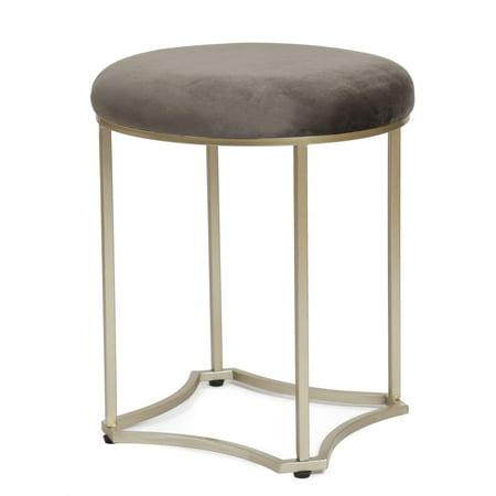 Strange Adeco Ft0252 Round Footstool Velvet Upholstered Modern Style Steel Legs 17 Inch Height Set Of 2 Ottomans Storage Ottomans Grey Ncnpc Chair Design For Home Ncnpcorg