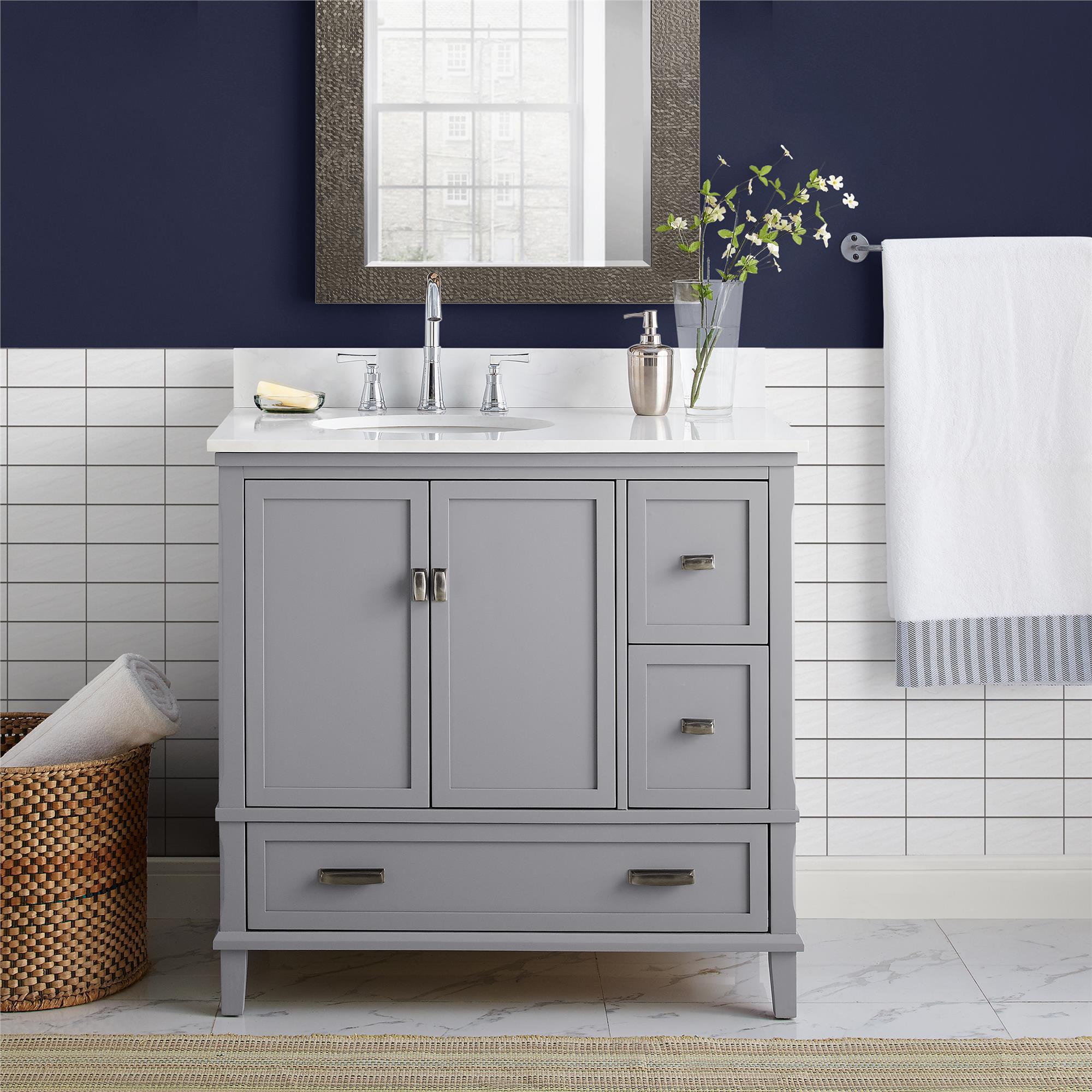 Dorel Living Otum 36 Inch Bathroom Vanity With Sink Gray Wood Walmart Com Walmart Com