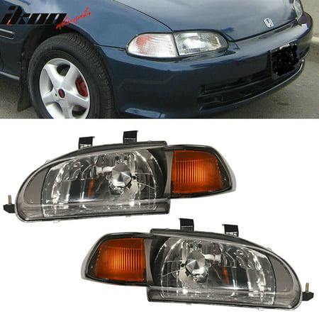 Fits 92-95 Honda Civic 4Dr Amber JDM Style Black