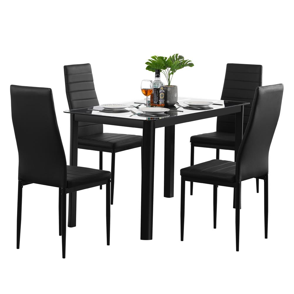 Zimtown 5pcs Dining Table Set,Glass Table Top with 4 High ...