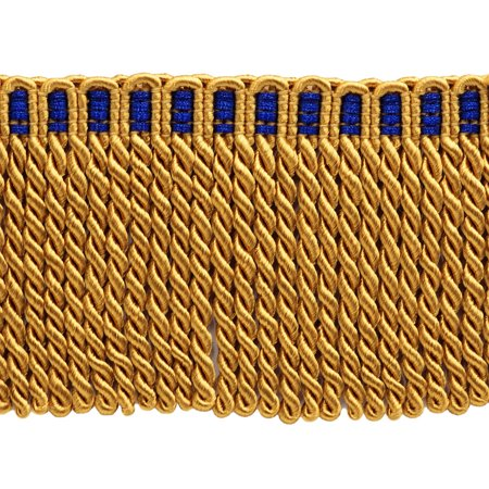 Long Fur Trim (15 Feet Value Pack of 3 Inch Long Bullion Fringe Trim, Style# DB3 - Gold with Blue Header C4T (5 Yards / 4.5)