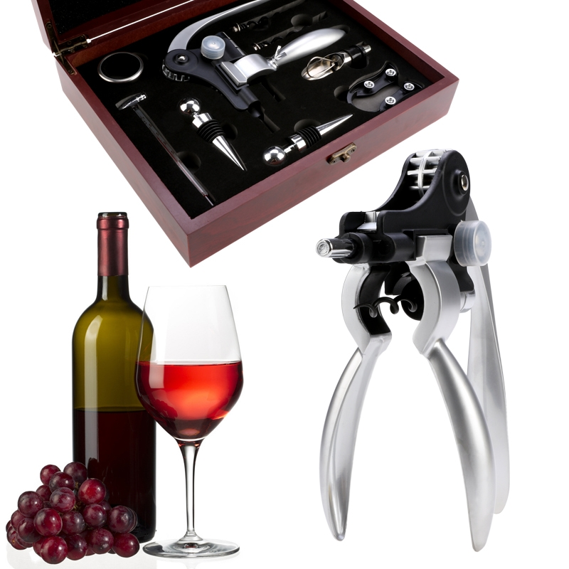 Red Stainless Steel Corkscrew Wine Bottle Opener Tools Corkscrew Stopper Foil Cutter,9 Piece Set