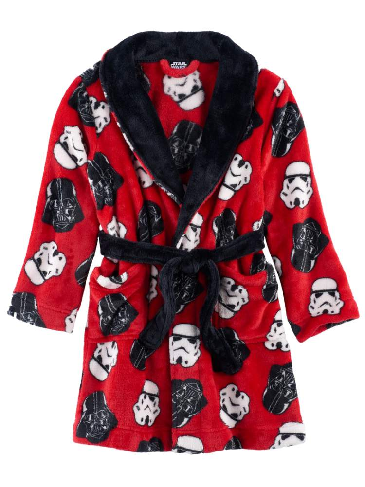 Boys Star Wars Dressing Gown Size 3 4 5 6 7 8 9 10 Darth Vader Character Fleece Bathrobe